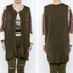 Freepeople Highway Olive Green Loose Fit Vest